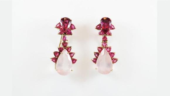 Brinco super feminino de rubelita e quartzo. Cor: rosa (de preferência os tons mais vivos)